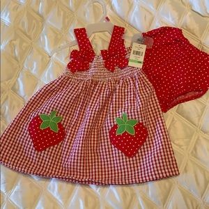 Summer strawberry dress with diaper cover 18 mo